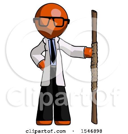 Orange Doctor Scientist Man Holding Staff or Bo Staff by Leo Blanchette
