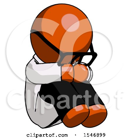 Orange Doctor Scientist Man Sitting with Head down Facing Angle Right by Leo Blanchette
