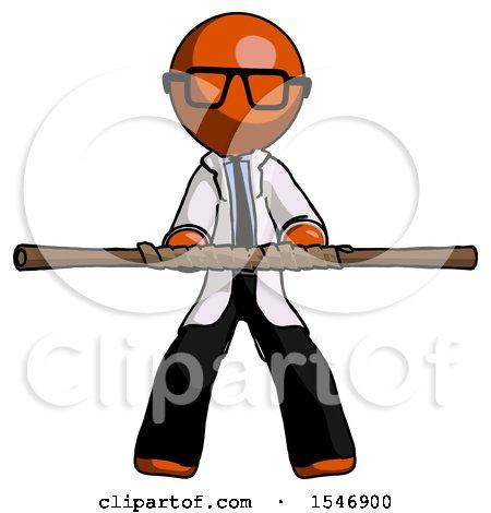 Orange Doctor Scientist Man Bo Staff Kung Fu Defense Pose by Leo Blanchette