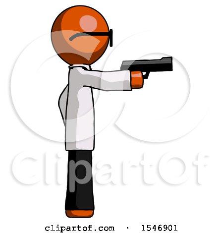 Orange Doctor Scientist Man Firing a Handgun by Leo Blanchette