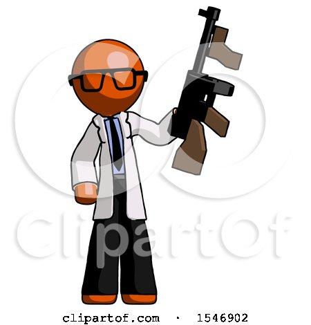 Orange Doctor Scientist Man Holding Tommygun by Leo Blanchette