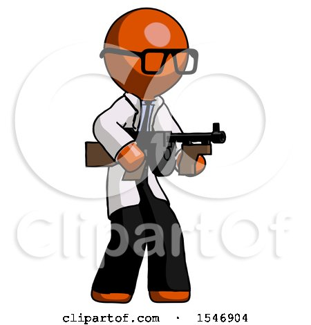 Orange Doctor Scientist Man Tommy Gun Gangster Shooting Pose by Leo Blanchette