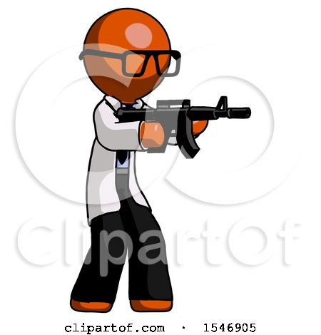Orange Doctor Scientist Man Shooting Automatic Assault Weapon by Leo Blanchette