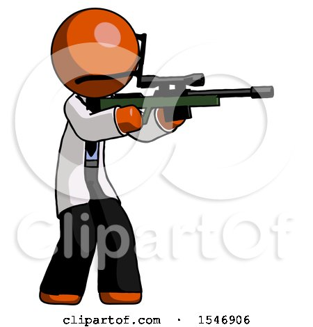 Orange Doctor Scientist Man Shooting Sniper Rifle by Leo Blanchette