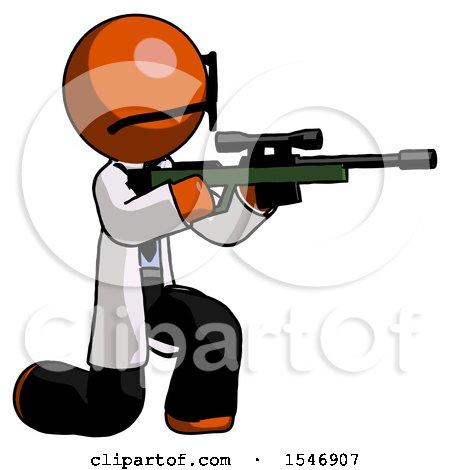Orange Doctor Scientist Man Kneeling Shooting Sniper Rifle by Leo Blanchette