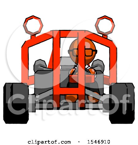 Orange Doctor Scientist Man Riding Sports Buggy Front View by Leo Blanchette