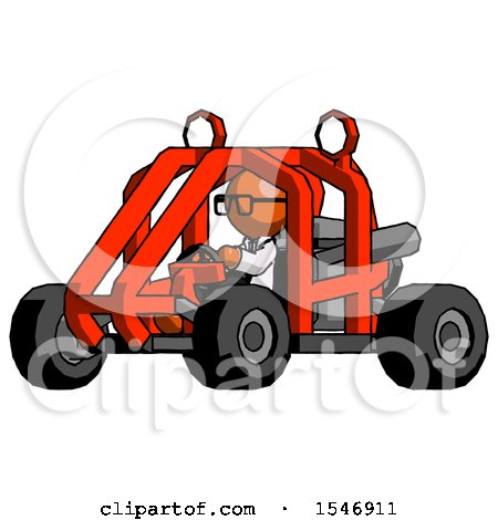 Orange Doctor Scientist Man Riding Sports Buggy Side Angle View by Leo Blanchette