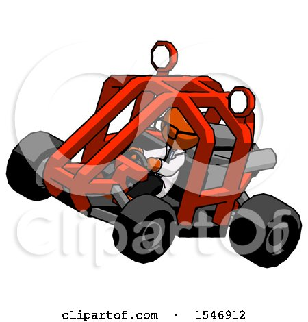 Orange Doctor Scientist Man Riding Sports Buggy Side Top Angle View by Leo Blanchette