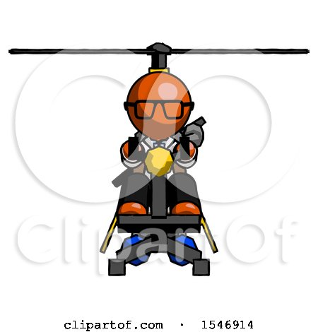 Orange Doctor Scientist Man Flying in Gyrocopter Front View by Leo Blanchette