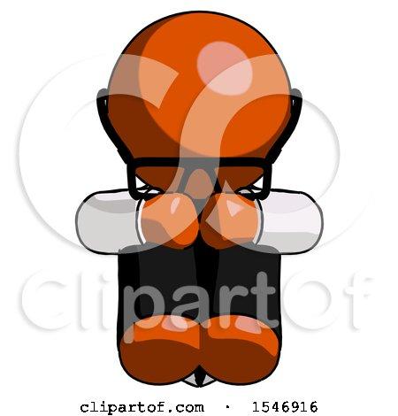 Orange Doctor Scientist Man Sitting with Head down Facing Forward by Leo Blanchette