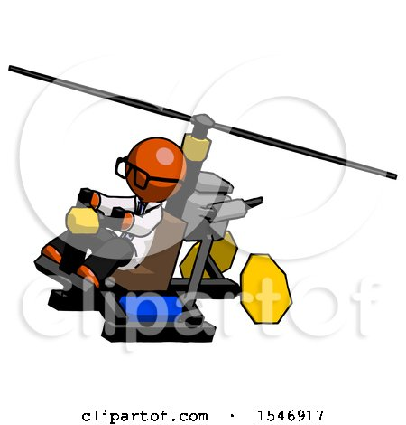 Orange Doctor Scientist Man Flying in Gyrocopter Front Side Angle Top View by Leo Blanchette