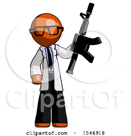 Orange Doctor Scientist Man Holding Automatic Gun by Leo Blanchette