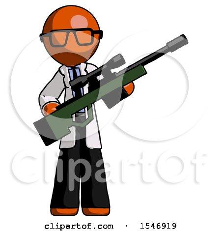 Orange Doctor Scientist Man Holding Sniper Rifle Gun by Leo Blanchette
