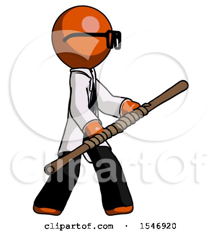 Orange Doctor Scientist Man Holding Bo Staff in Sideways Defense Pose by Leo Blanchette