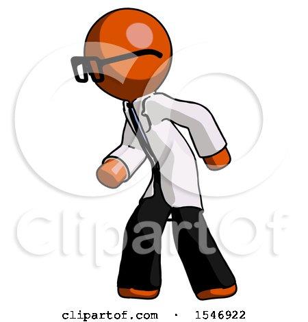 Orange Doctor Scientist Man Suspense Action Pose Facing Left by Leo Blanchette