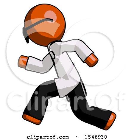 Orange Doctor Scientist Man Running Fast Left by Leo Blanchette