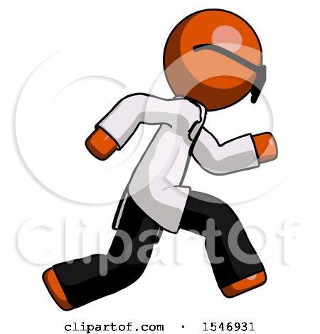 Orange Doctor Scientist Man Running Fast Right by Leo Blanchette