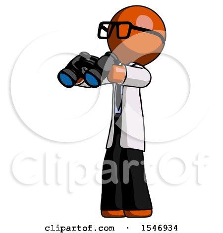 Orange Doctor Scientist Man Holding Binoculars Ready to Look Left by Leo Blanchette