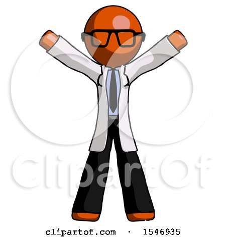 Orange Doctor Scientist Man Surprise Pose, Arms and Legs out by Leo Blanchette