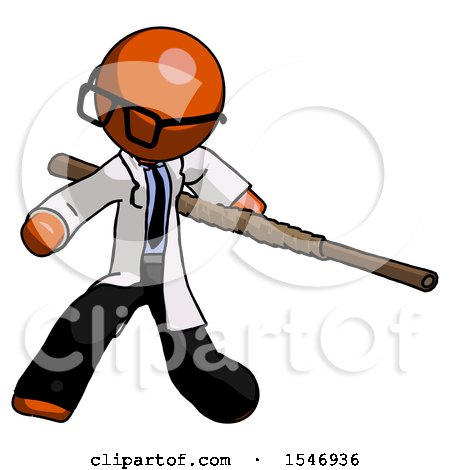 Orange Doctor Scientist Man Bo Staff Action Hero Kung Fu Pose by Leo Blanchette