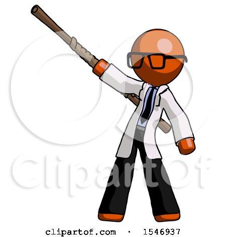 Orange Doctor Scientist Man Bo Staff Pointing up Pose by Leo Blanchette
