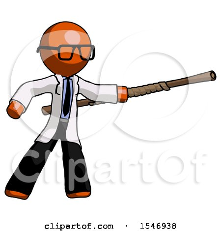 Orange Doctor Scientist Man Bo Staff Pointing Right Kung Fu Pose by Leo Blanchette