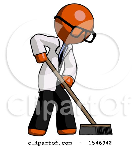 Orange Doctor Scientist Man Cleaning Services Janitor Sweeping Side View by Leo Blanchette