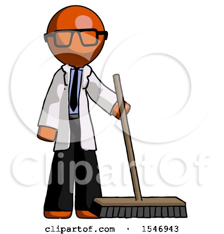 Orange Doctor Scientist Man Standing with Industrial Broom by Leo Blanchette