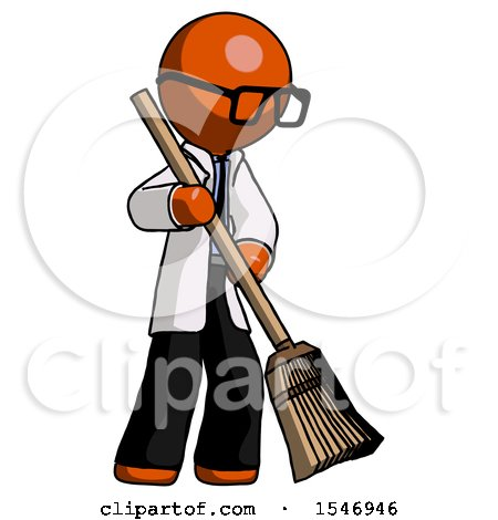 Orange Doctor Scientist Man Sweeping Area with Broom by Leo Blanchette