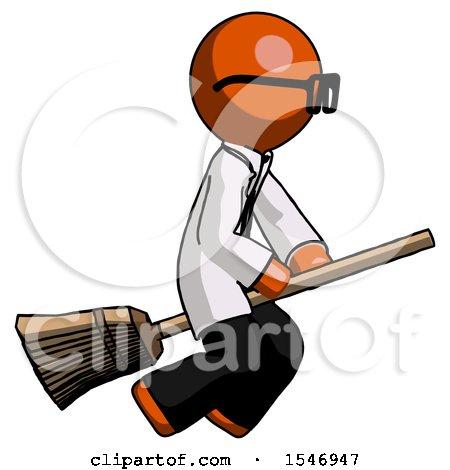 Orange Doctor Scientist Man Flying on Broom by Leo Blanchette