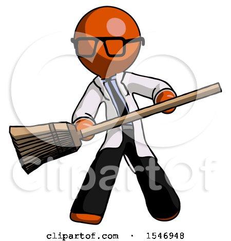 Orange Doctor Scientist Man Broom Fighter Defense Pose by Leo Blanchette