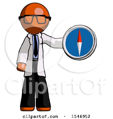 Orange Doctor Scientist Man Holding a Large Compass by Leo Blanchette