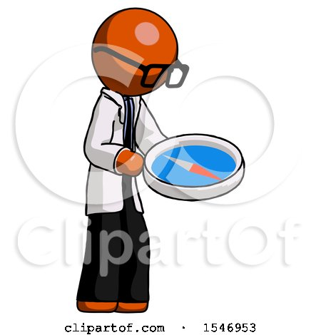 Orange Doctor Scientist Man Looking at Large Compass Facing Right by Leo Blanchette