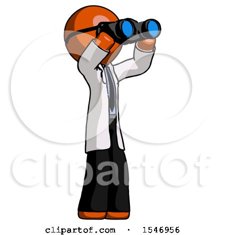 Orange Doctor Scientist Man Looking Through Binoculars to the Right by Leo Blanchette