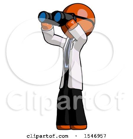 Orange Doctor Scientist Man Looking Through Binoculars to the Left by Leo Blanchette