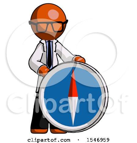 Orange Doctor Scientist Man Standing Beside Large Compass by Leo Blanchette