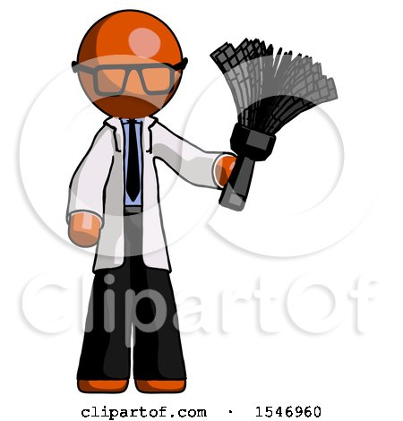 Orange Doctor Scientist Man Holding Feather Duster Facing Forward by Leo Blanchette