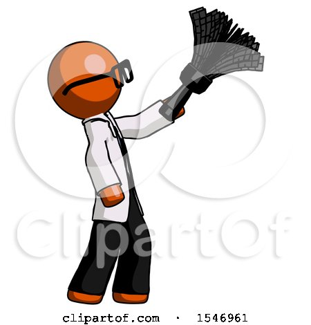 Orange Doctor Scientist Man Dusting with Feather Duster Upwards by Leo Blanchette