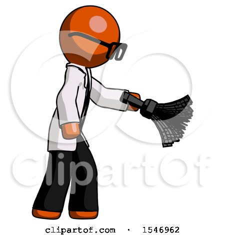 Orange Doctor Scientist Man Dusting with Feather Duster Downwards by Leo Blanchette