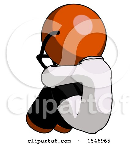 Orange Doctor Scientist Man Sitting with Head down Back View Facing Left by Leo Blanchette