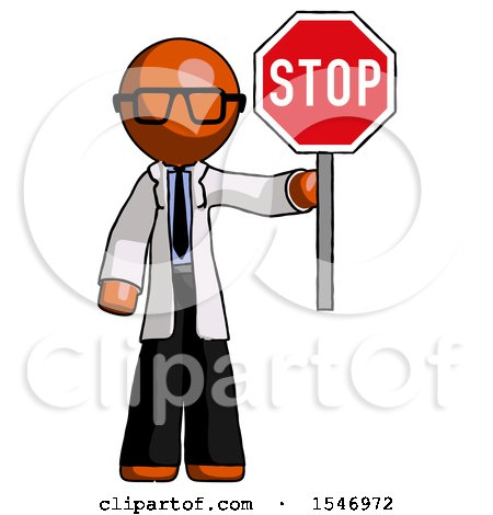 Orange Doctor Scientist Man Holding Stop Sign by Leo Blanchette