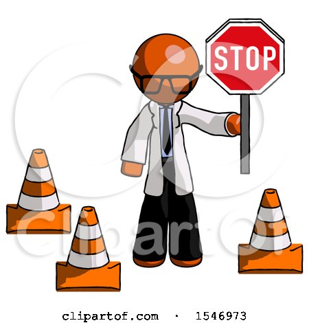 Orange Doctor Scientist Man Holding Stop Sign by Traffic Cones Under Construction Concept by Leo Blanchette