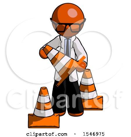 Orange Doctor Scientist Man Holding a Traffic Cone by Leo Blanchette