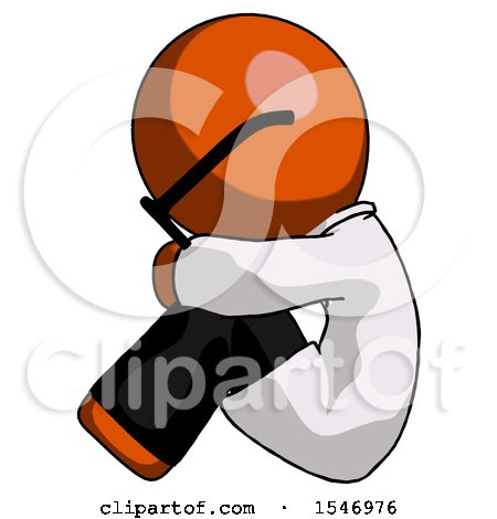 Orange Doctor Scientist Man Sitting with Head down Facing Sideways Left by Leo Blanchette