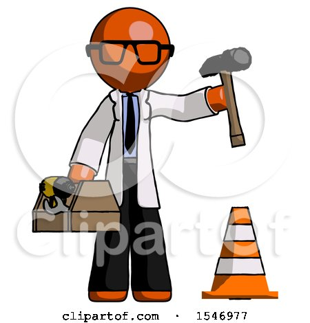 Orange Doctor Scientist Man Under Construction Concept, Traffic Cone and Tools by Leo Blanchette