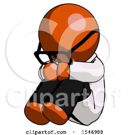 Orange Doctor Scientist Man Sitting with Head down Facing Angle Left by Leo Blanchette