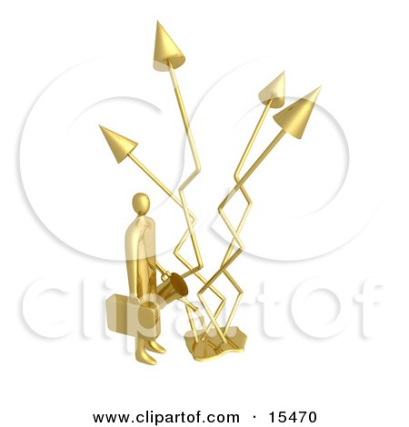 Golden Successful Businessman Holding A Watering Can And Watering Graph Arrows That Keep Increasing Profits In The Business  Posters, Art Prints