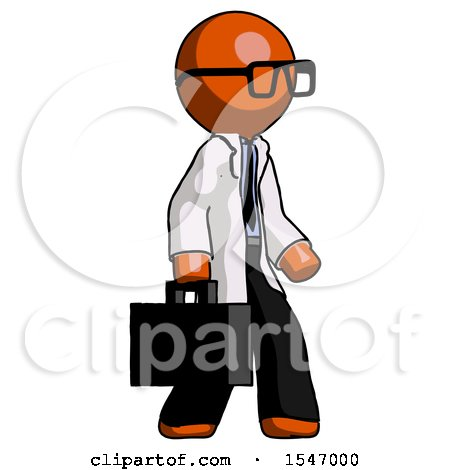 Orange Doctor Scientist Man Walking with Briefcase to the Right by Leo Blanchette