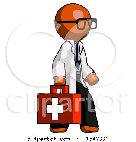 Orange Doctor Scientist Man Walking with Medical Aid Briefcase to Right by Leo Blanchette