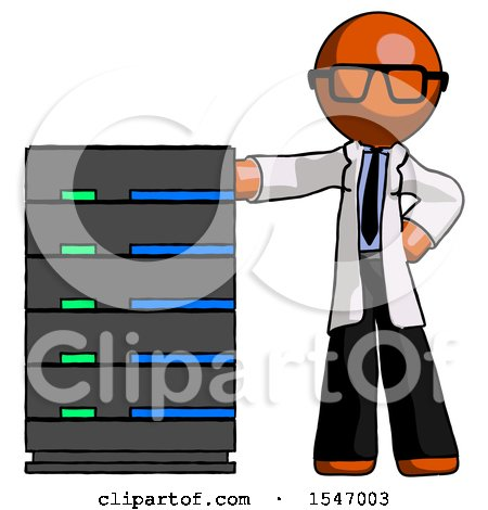 Orange Doctor Scientist Man with Server Rack Leaning Confidently Against It by Leo Blanchette